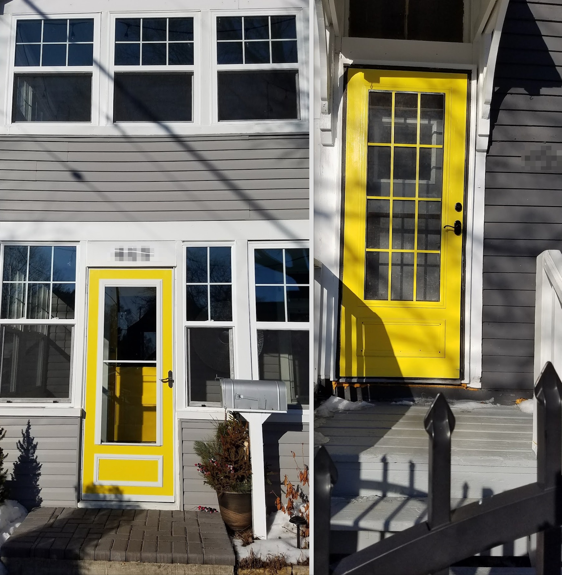 gray siding yellow doors