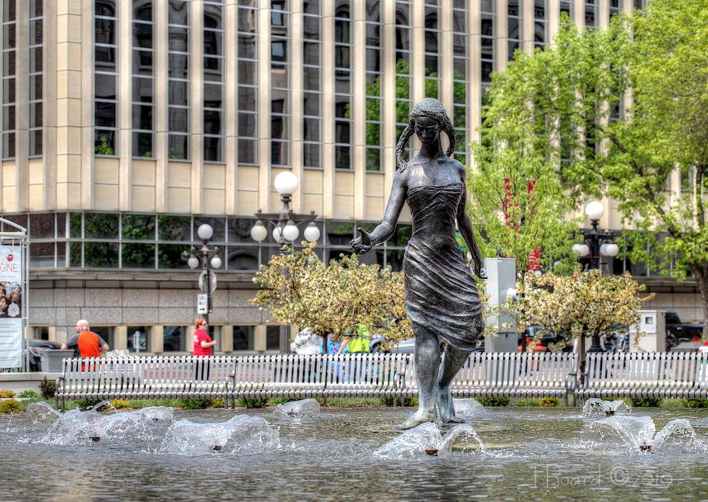 fountain by Wisconsin artist Alonzo Hauser, donated by the Women's Institute of Saint Paul in 1965; referred to as The Source